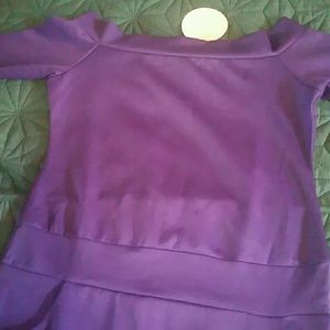 Rich Grape/Purple Bodycon Bardot Dress